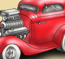 HOT ROD CAR CHEV STYLE RED Sticker