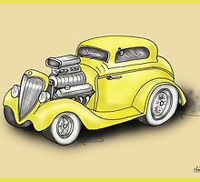 HOT ROD CAR CHEV STYLE YELLOW by squigglemonkey