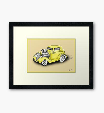 HOT ROD CAR CHEV STYLE YELLOW Framed Print