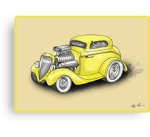 HOT ROD CAR CHEV STYLE YELLOW Canvas Print