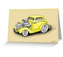 HOT ROD CAR CHEV STYLE YELLOW Greeting Card