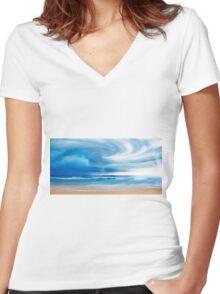 beach Breeze Women's Fitted V-Neck T-Shirt