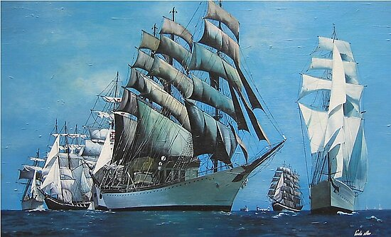 Tall Ships in New York Harbor by Kate Eller