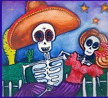 cartoon Mexican day of the dead art by melaniedann
