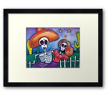 cartoon Mexican day of the dead art Framed Print