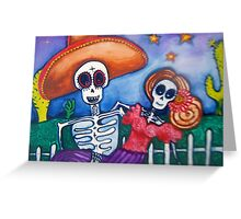 cartoon Mexican day of the dead art Greeting Card