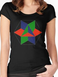 3D cube-octahedron Women's Fitted Scoop T-Shirt