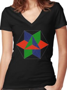 3D cube-octahedron Women's Fitted V-Neck T-Shirt