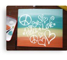 Art, Peace + Love Canvas Print