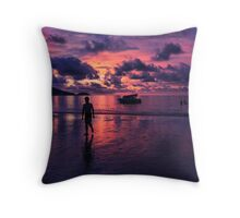 Patong beach sunset Throw Pillow