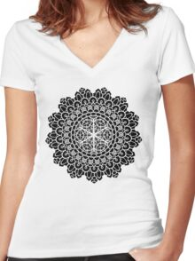 Geometric Mandala Women's Fitted V-Neck T-Shirt