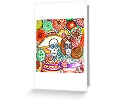 party time skeleton day of the dead art Greeting Card
