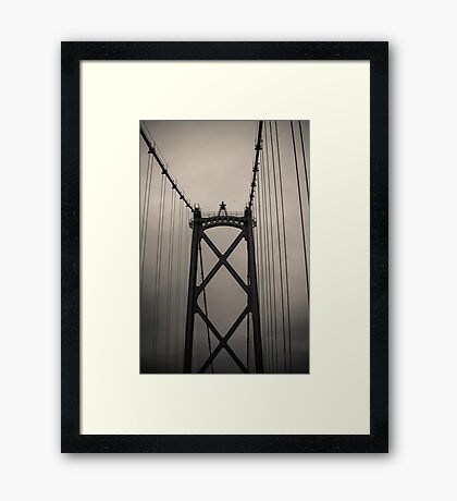 Lions Gate Bridge Abstract Black And White Framed Print
