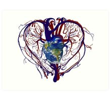"Anatomical Kind ""Earth Heart"" Medical Circulatory Get Well Kindness Art Print"