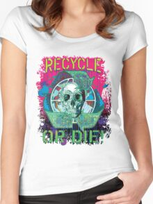 Recycle or Die Earth Day Skull Gear Women's Fitted Scoop T-Shirt