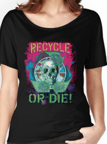Recycle or Die Earth Day Skull Gear Women's Relaxed Fit T-Shirt