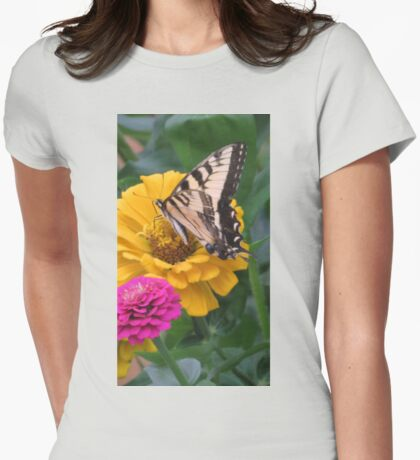 Swallowtail Butterfly And Colorful Zinnias Womens Fitted T-Shirt