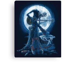Full Moon Shines On Old Guitarist Broken Heart Blues Canvas Print