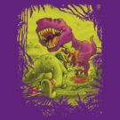 Bloody Extinction of Purple T Rex Dinosaur by MudgeStudios