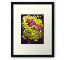 Bloody Extinction of Purple T Rex Dinosaur Framed Print