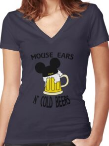 Mouse Ears N' Cold Beers Women's Fitted V-Neck T-Shirt