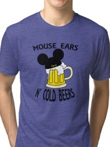 Mouse Ears N' Cold Beers Tri-blend T-Shirt