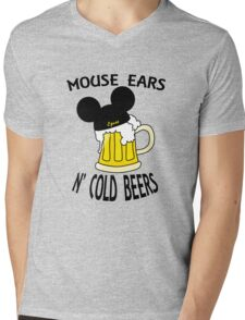 Mouse Ears N' Cold Beers Mens V-Neck T-Shirt