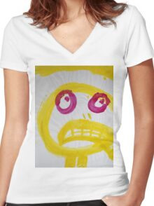 Smile - Yellow With Fuchsia Eyes Women's Fitted V-Neck T-Shirt