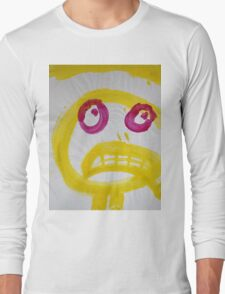 Smile - Yellow With Fuchsia Eyes Long Sleeve T-Shirt