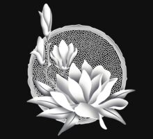 Japanese Style Magnolia Blossoms - Monochrome by mingtees