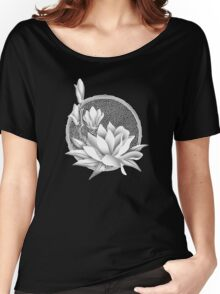 Japanese Style Magnolia Blossoms - Monochrome Women's Relaxed Fit T-Shirt