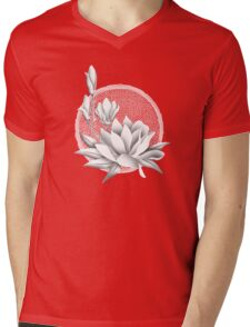 Japanese Style Magnolia Blossoms - Monochrome Mens V-Neck T-Shirt