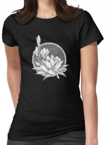 Japanese Style Magnolia Blossoms - Monochrome Womens Fitted T-Shirt