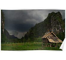 Approaching storm, Nong Khiaw, Laos. Poster