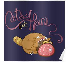 Cats Love Ham Poster