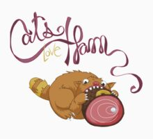 Cats Love Ham One Piece - Short Sleeve