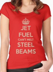 Jet fuel can't melt steel beams Women's Fitted Scoop T-Shirt