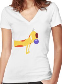 Catdog - Cartoon Dog Cat Funny Yellow Mustard Pet Silly Women's Fitted V-Neck T-Shirt