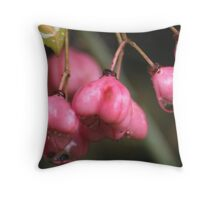 Pink Berries after the Rain Throw Pillow