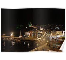 Parga Harbour at Night Poster