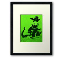 Bansky Gangsta Rat - Green Framed Print