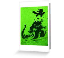 Bansky Gangsta Rat - Green Greeting Card