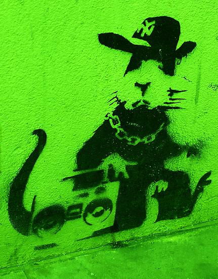 Bansky Gangsta Rat - Green by Kiwikiwi