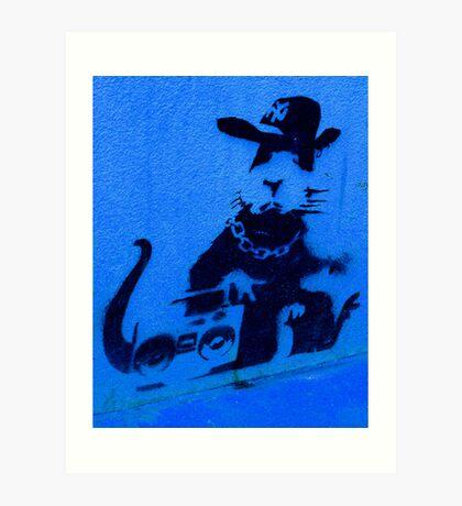 Banksy Gangsta Rat - Blue Art Print