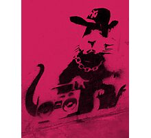 Banksy Gangsta Rat - Pink Photographic Print