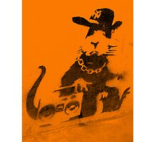 Banksy Gangsta Rat - Orange Photographic Print
