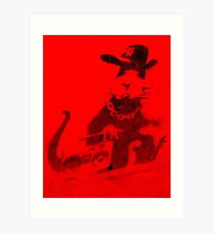 Banksy Gangsta Rat - Red  Art Print