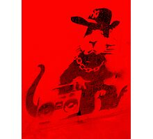 Banksy Gangsta Rat - Red  Photographic Print
