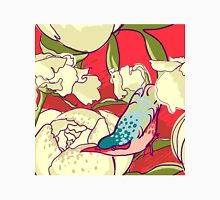 Seamless floral background with peonies bird Womens Fitted T-Shirt