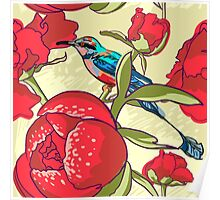 Seamless floral background with peonies bird Poster